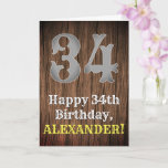 [ Thumbnail: 34th Birthday: Country Western Inspired Look, Name Card ]