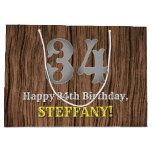 [ Thumbnail: 34th Birthday: Country Western Inspired Look, Name Gift Bag ]