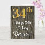[ Thumbnail: 34th Birthday: Elegant Faux Gold Look #, Faux Wood Card ]