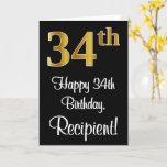 [ Thumbnail: 34th Birthday ~ Elegant Luxurious Faux Gold Look # Card ]