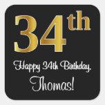 [ Thumbnail: 34th Birthday – Elegant Luxurious Faux Gold Look # Sticker ]