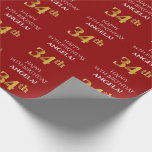 [ Thumbnail: 34th Birthday: Elegant, Red, Faux Gold Look Wrapping Paper ]