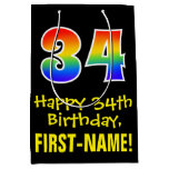 "[ Thumbnail: 34th Birthday: Fun, Bold, Colorful, Rainbow ""34"" Gift Bag ]"