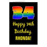 [ Thumbnail: 34th Birthday: Fun, Colorful, Happy, Rainbow # 34 Card ]