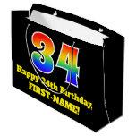 [ Thumbnail: 34th Birthday ~ Fun, Colorful, Vibrant, Rainbow 34 Gift Bag ]