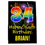 [ Thumbnail: 34th Birthday: Fun Fireworks Pattern + Rainbow 34 Gift Bag ]