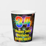 [ Thumbnail: 34th Birthday: Fun Fireworks Pattern + Rainbow 34 ]