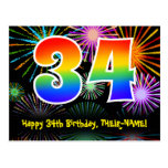 [ Thumbnail: 34th Birthday – Fun Fireworks Pattern + Rainbow 34 Postcard ]