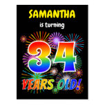 "[ Thumbnail: 34th Birthday - Fun Fireworks, Rainbow Look ""34"" Postcard ]"