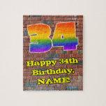 [ Thumbnail: 34th Birthday: Fun Graffiti-Inspired Rainbow 34 Jigsaw Puzzle ]