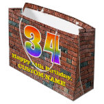 [ Thumbnail: 34th Birthday: Fun, Graffiti-Inspired Rainbow # 34 Gift Bag ]