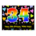 [ Thumbnail: 34th Birthday: Fun Hearts Pattern, Rainbow 34 Postcard ]