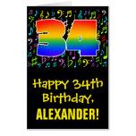 [ Thumbnail: 34th Birthday: Fun Music Symbols + Rainbow # 34 Card ]