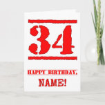 [ Thumbnail: 34th Birthday: Fun, Red Rubber Stamp Inspired Look Card ]