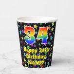 [ Thumbnail: 34th Birthday: Fun Stars Pattern and Rainbow 34 ]