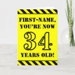 [ Thumbnail: 34th Birthday: Fun Stencil Style Text, Custom Name Card ]