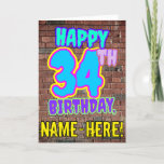 [ Thumbnail: 34th Birthday - Fun, Urban Graffiti Inspired Look Card ]
