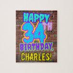 [ Thumbnail: 34th Birthday ~ Fun, Urban Graffiti Inspired Look Jigsaw Puzzle ]