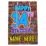 [ Thumbnail: 34th Birthday: Fun, Urban Graffiti Inspired Look Gift Bag ]