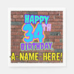 [ Thumbnail: 34th Birthday ~ Fun, Urban Graffiti Inspired Look Napkins ]