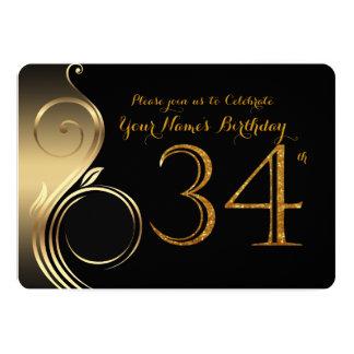 34th,Birthday Invitation,Number Glitter Gold,Photo Card