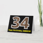 "[ Thumbnail: 34th Birthday: Name + Faux Wood Grain Pattern ""34"" Card ]"