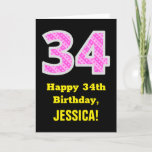 "[ Thumbnail: 34th Birthday: Pink Stripes and Hearts ""34"" + Name Card ]"