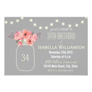 34th Birthday Pink Watercolor Flowers & Mason Jar Card