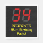 "[ Thumbnail: 34th Birthday: Red Digital Clock Style ""34"" + Name Napkins ]"