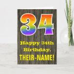 "[ Thumbnail: 34th Birthday: Rustic Faux Wood Look, Rainbow ""34"" Card ]"