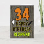 [ Thumbnail: 34th Birthday: Spooky Halloween Theme, Custom Name Card ]