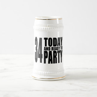 34th Birthdays Parties : 34 Today & Ready to Party Beer Stein