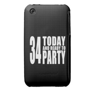 34th Birthdays Parties : 34 Today & Ready to Party iPhone 3 Cases
