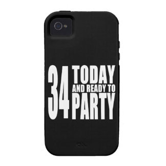 34th Birthdays Parties : 34 Today & Ready to Party Vibe iPhone 4 Cases