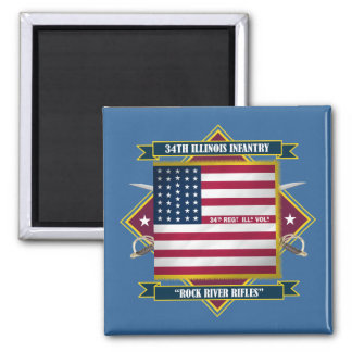 34th Illinois Volunteer Infantry 2 Inch Square Magnet