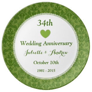 34th Wedding Anniversary Olive Green Damask A34A Porcelain Plate