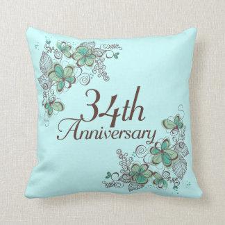 34to Almohada de tiro del regalo del aniversario