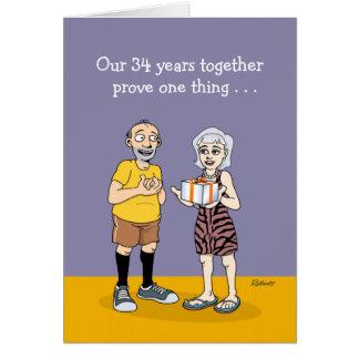 34to aniversario divertido tarjeta de felicitación