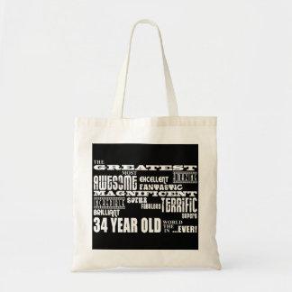 34to Años más grandes de la fiesta de cumpleaños l Bolsas Lienzo