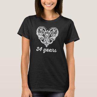 34to Camiseta de la pizarra del corazón del amor