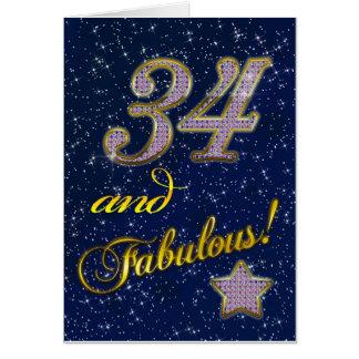 34to cumpleaños para alguien fabuloso tarjeta de felicitación