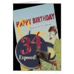 34to edad avanzada llevada cumpleaños feliz de la  tarjeta