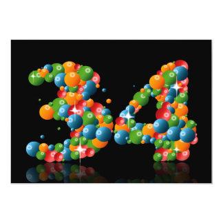 34to Fiesta de cumpleaños, con las burbujas y las Invitación 12,7 X 17,8 Cm
