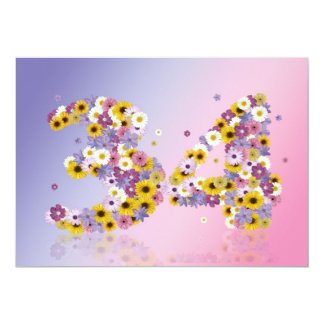 34to Fiesta de cumpleaños, con las letras Invitación 12,7 X 17,8 Cm