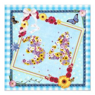 34to Flores de la invitación de la fiesta de Invitación 13,3 Cm X 13,3cm