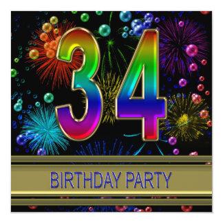 34to Invitación de la fiesta de cumpleaños con las Invitación 13,3 Cm X 13,3cm