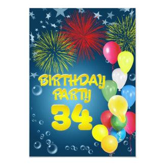 34to Invitación de la fiesta de cumpleaños con los Invitación 12,7 X 17,8 Cm