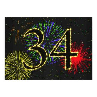 34to invitate de la fiesta de cumpleaños invitación 12,7 x 17,8 cm