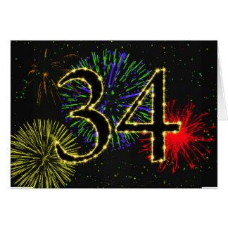 34to Tarjeta de cumpleaños con los fuegos