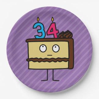 34to Torta de cumpleaños con las velas Platos De Papel